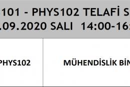 Fizik Bölümü 2020 Bahar Dönemi Telafi Sınavları