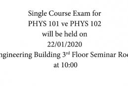 PHYS 101 ve PHYS 102 Single Course Exam