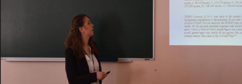"""Emine Gulmez  """"Astronomi ve Uzay Fiziğinde Genç Bilim İnsanları"""" Kiev Kongresinde yaptığı """"Abell262 Galaksi Kümesinin XMM-Newton Gözlemi"""""""